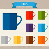 Mugs colored templates for your design in flat style.