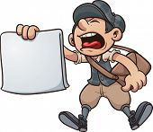 pic of yell  - Cartoon paper boy yelling - JPG