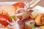 Small An Octopus Hold Chopsticks Macro