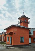 stock photo of fire-station  - Fire Station with Tower and weather vane - JPG