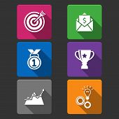 pic of money prize  - Business winner icons set of award growth graph and money prize isolated vector illustration - JPG
