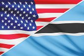 Series Of Ruffled Flags. Usa And Botswana.