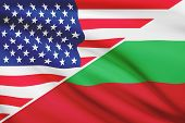 Series Of Ruffled Flags. Usa And Bulgaria.
