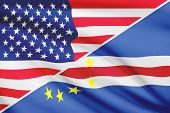 Series Of Ruffled Flags. Usa And Cape Verde.