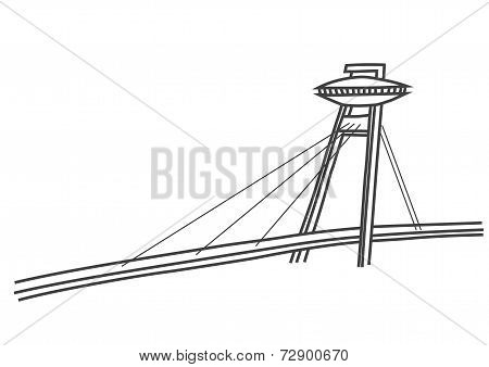 Simple Illustration New Bridge In Bratislava With Ufo Restaurant