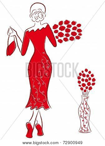 Lady In Long Red Gown With Red Roses Goes Away