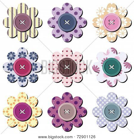 scrapbook flowers on white background