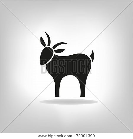 Black Silhouette Of Goat