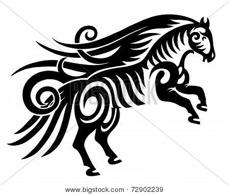 digital drawing of black tribal horse silhouette isolated on whi