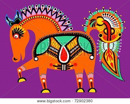 ukrainian tribal ethnic painting, unusual horse, folk illustrati