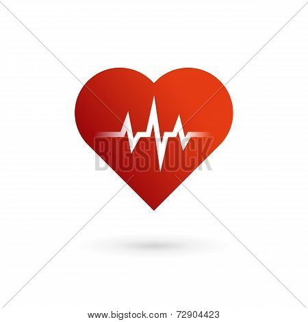 Heart cardiology symbol logo icon design template elements. May be used in medical, dating, Valentin