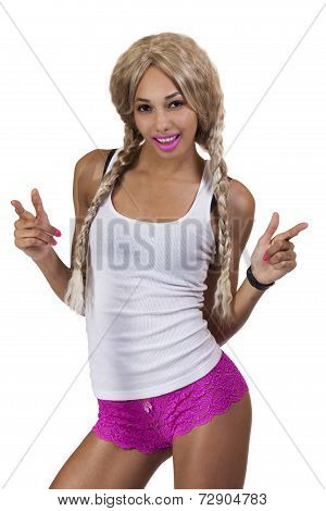 Light Complexion Black Woman Blond Wig Panties