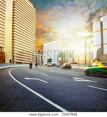 Land Transport With Sun Set Urban Scene Use For City Life Background ,backdrop