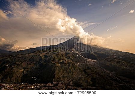 Tungurahua Volcano Powerful Explosion At Sunset, Ecuador, South America
