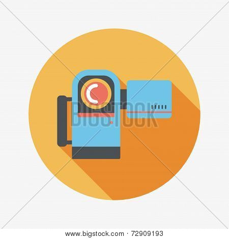 Video Camera Flat Icon With Long Shadow