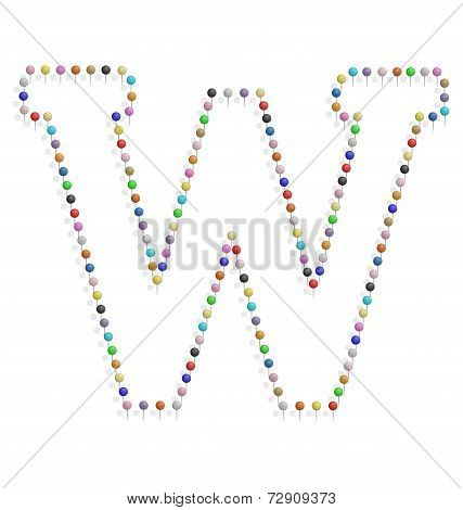 Letter W With Pushpin