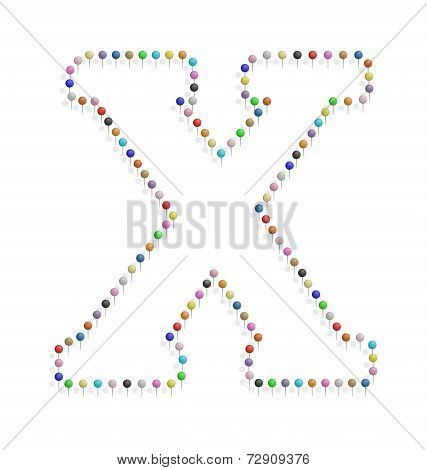 Letter X With Pushpin