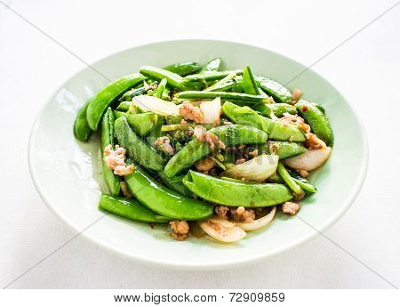 Fried Pea On Plate