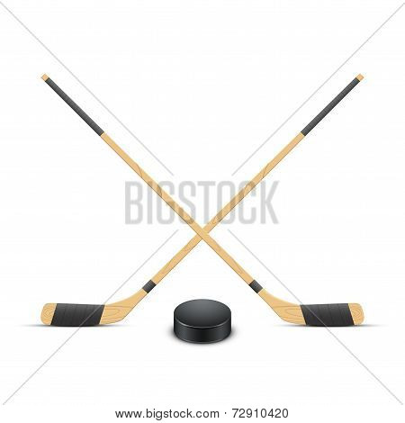 Ice Hockey puck and sticks. Vector.
