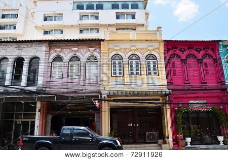 Phuket, Thailand - April 15, 2014: Old Building Chino Portuguese Style In Phuket