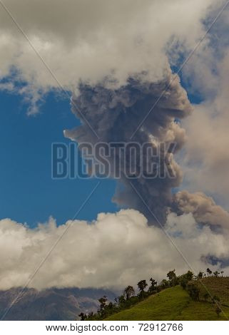 Powerful Day Explosion Of Tungurahua Volcano, South America