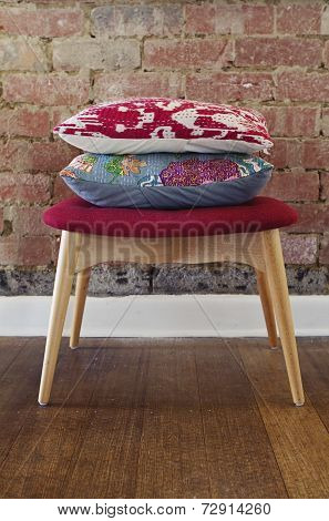 Homewares Cushions On Ottoman Stool