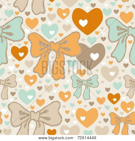 Seamless Pattern With Bows And Hearts. Vector