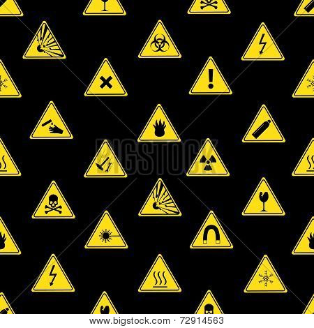 Danger Signs Types Seamless Pattern Eps10