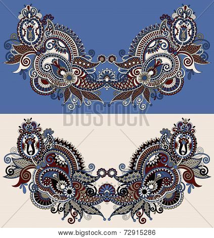 Neckline ornate floral paisley embroidery fashion design
