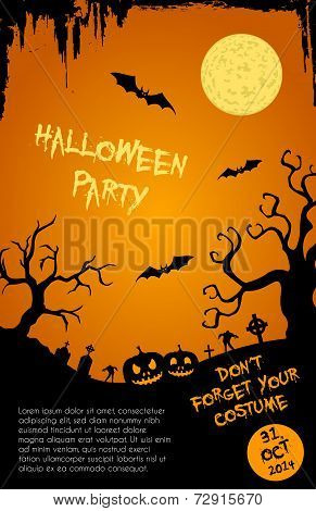 Halloween party flyer template - orange and black