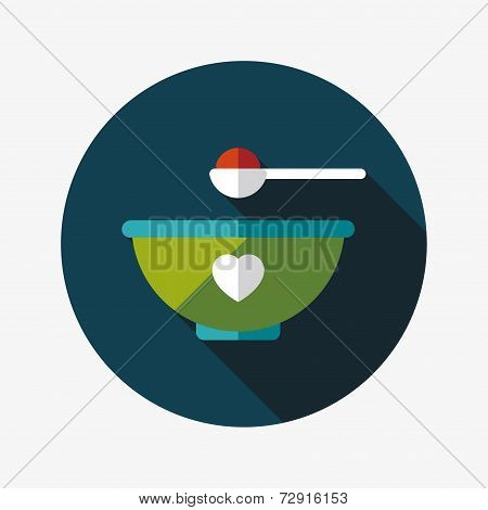 Baby Food Bowl Flat Icon With Long Shadow