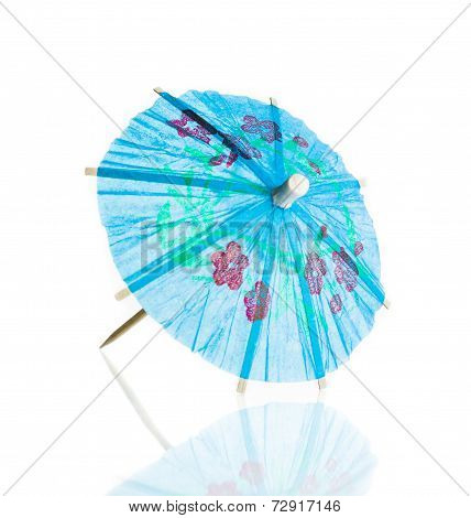 Blue Cocktail Umbrella Isolated Against White Background