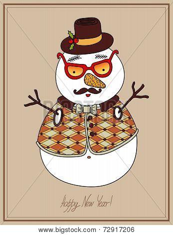 original hipster snowman in sunglasses, hat, mustache tie and wa