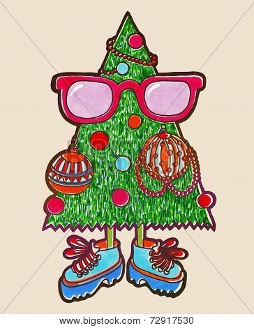 original marker drawing of animated christmas tree, hipster styl