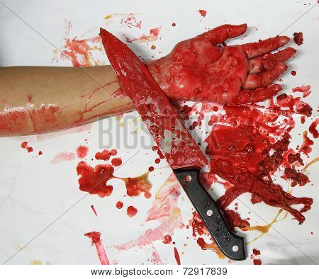 Handed Knives And Blood And Meat Scraps