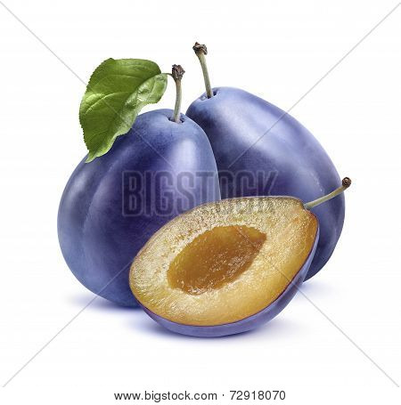 Two Blue Plums And Half Isolated On White Background