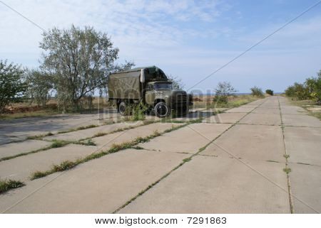 Russian Military Truck On Remote Air Force Station