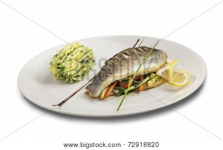 Fish With Vagetables And Mashed Potato