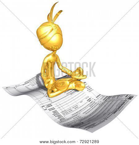 Gold Guy Djinn On Magic Carpet Tax Form