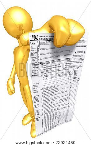 Gold Guy With Tax Form
