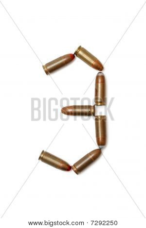 Number three made of cartridges isolated