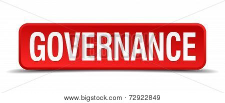 Governance Red 3D Square Button On White Background