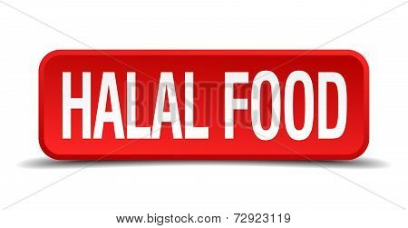 Halal Food Red 3D Square Button On White Background