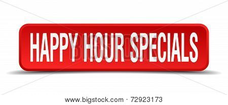 Happy Hour Specials Red 3D Square Button On White Background