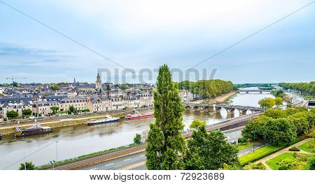 Verdun Bridge And Downtown Area From Angers Castle