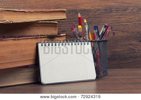 School Supplies On A Desk