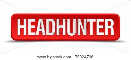 Headhunter Red 3D Square Button On White Background
