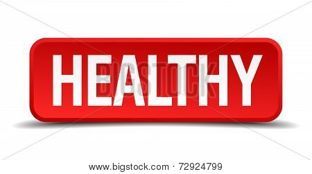 Healthy Red 3D Square Button On White Background