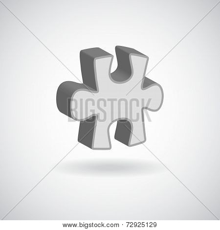 vector glossy puzzle web icon design element grey