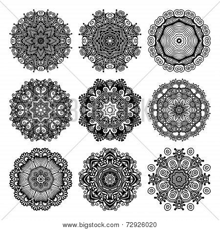 Circle lace ornament, round ornamental geometric doily pattern